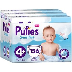 Scutece PUFIES Sensitive nr 4+, Unisex, 10-15 kg, 156 buc