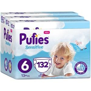Scutece PUFIES Sensitive nr 6, Unisex, 13+ kg, 132 buc