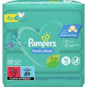 Servetele umede PAMPERS Fresh Clean, 4 pachete, 208buc