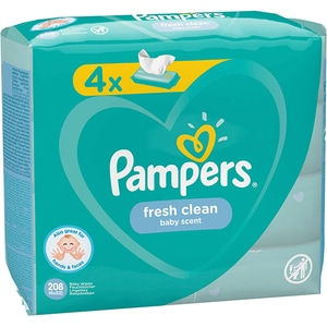 Servetele umede PAMPERS Fresh Clean, 4 pachete, 208buc