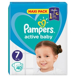 Scutece PAMPERS Active Baby Maxi Pack nr 7, Unisex, 15 kg+, 40 buc
