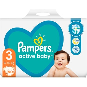 Scutece PAMPERS Active Baby Giant Pack nr 3, Unisex, 6-10 kg, 90 buc