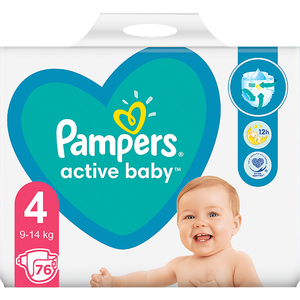 Scutece PAMPERS Active Baby Giant Pack nr 4, Unisex, 9-14 kg, 76 buc