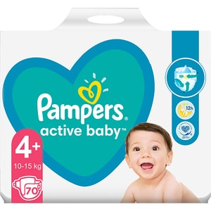 Scutece PAMPERS Active Baby Giant Pack nr 4, Unisex, 10-15 kg, 70 buc