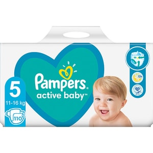 Scutece PAMPERS Active Baby Mega Pack nr 5, Unisex, 11-16 kg, 110 buc