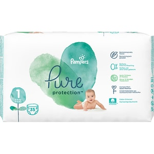 Scutece PAMPERS Pure Protection nr 1, Unisex, 2-5 kg, 35 buc