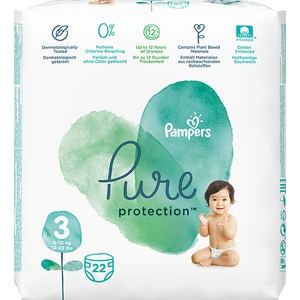 Scutece PAMPERS Pure Protection nr 3, Unisex, 6-10 kg, 22 buc