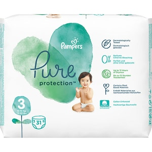 Scutece PAMPERS Pure Protection nr 3, Unisex, 6-10 kg, 31 buc