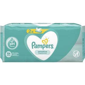 Servetele umede PAMPERS Sensitive, 2 pachete, 104buc