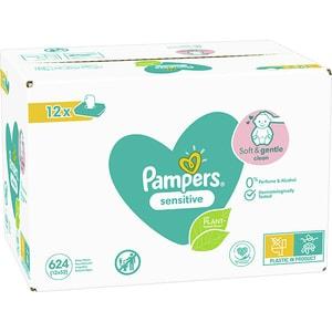 Servetele umede PAMPERS Sensitive, 12 pachete, 624 buc