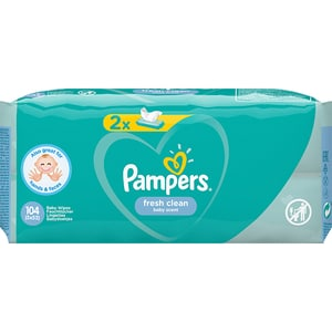 Servetele umede PAMPERS Fresh Clean, 2 pachete, 104buc