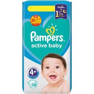 Scutece PAMPERS Active Baby nr 4+, Unisex, 10-15 kg, 58 buc