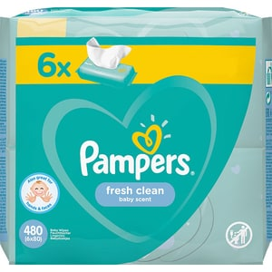 Servetele umede PAMPERS Fresh Clean, 6 pachete, 480 buc