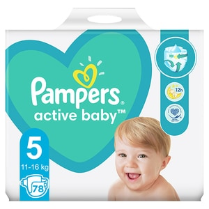 Scutece PAMPERS Active Baby Giant Pack+ nr 5, Unisex, 11-16 kg, 78 buc