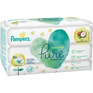 Servetele umede PAMPERS Coconut Pure, 3 pachete, 126 buc