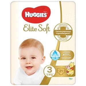 Scutece HUGGIES Elite Soft nr 3, Unisex, 5-9 kg, 21 buc