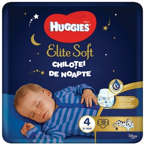 Scutece chilotel HUGGIES Elite Soft Overnight nr 4, Unisex, 9-14 kg, 19 buc