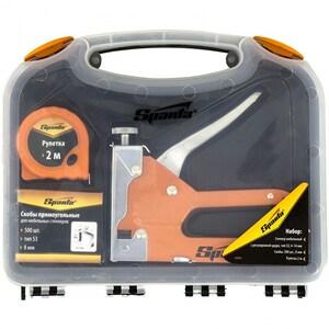 Set Capsator SPARTA 42003, pentru mobila, reglabil, capse 6-14mm, tip 53 + 500 capse + banda de masurare