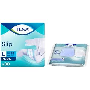 Pachet promo TENA: Scutece pentru adulti Slip Plus, L, 30buc + Servetele pentru igiena intima Wet Wipe, 48buc