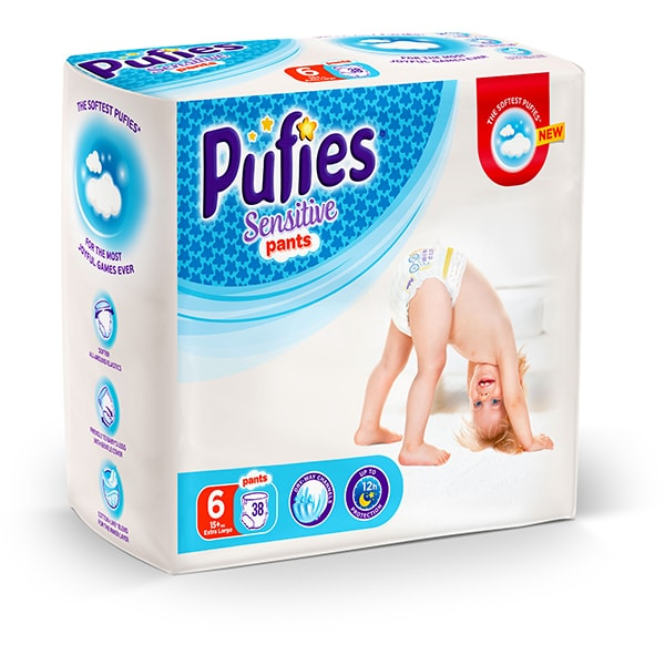 Scutece chilotei PUFIES Sensitive nr 6, Unisex, +15 kg, 38 buc