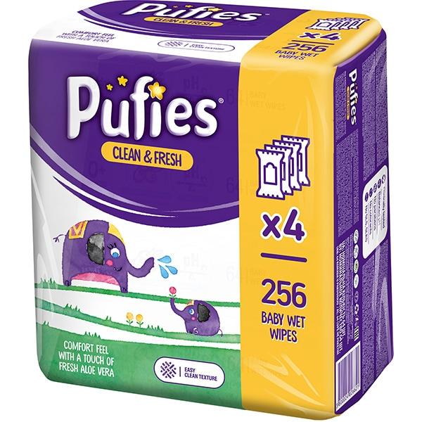 Servetele umede PUFIES Clean&Fresh, 4 pachete, 256 buc