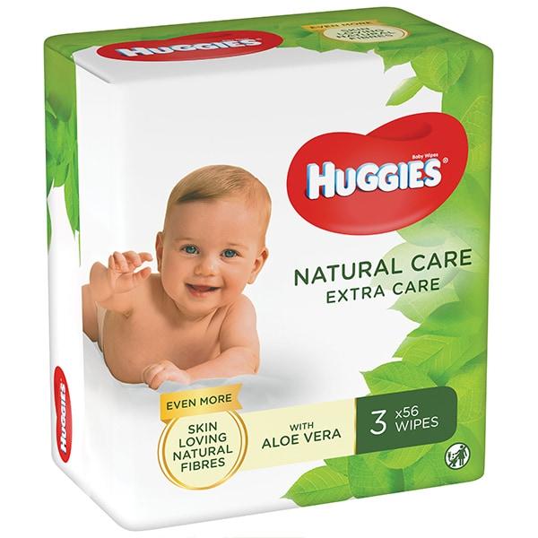 Servetele umede HUGGIES Natural Care Extra Care, 3 pachete, 168 buc