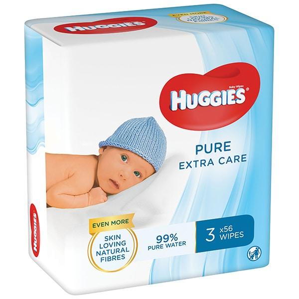 Servetele umede HUGGIES Pure Extra Care, 3 pachete, 168 buc
