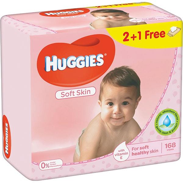 Servetele umede HUGGIES Soft Skin, 2 + 1 pachete, 168 buc