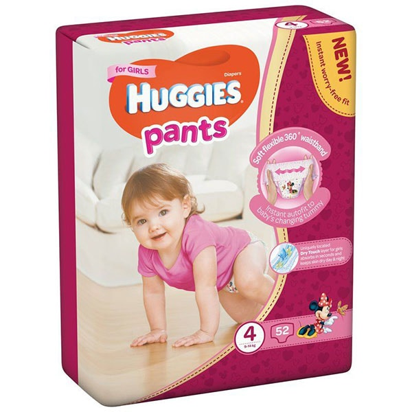Scutece chilotei HUGGIES Mega pack nr 4, Fata, 9-14 kg, 52 buc