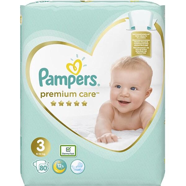 Scutece PAMPERS Premium Care Jumbo Pack nr 3, Unisex, 6 - 10 kg, 80 buc