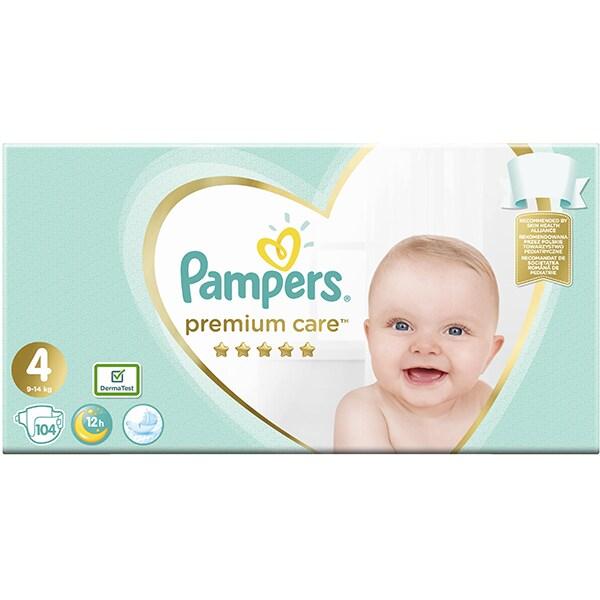 Scutece PAMPERS Premium Care Mega Box nr 4, Unisex, 9 - 14 kg, 104 buc