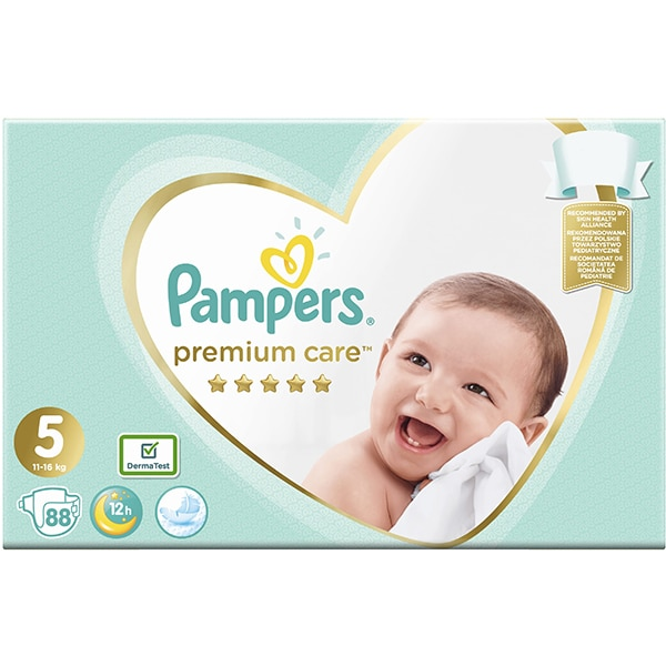 Scutece PAMPERS Premium Care Mega Box nr 5, Unisex, 11 - 16 kg, 88 buc