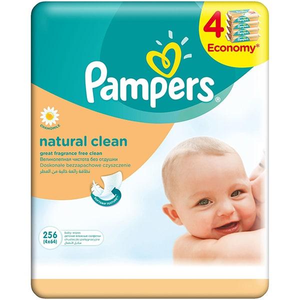 Servetele umede PAMPERS Natural Clean, 4 pachete, 256 buc