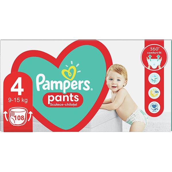 Scutece chilotei PAMPERS Pants Mega Box nr 4, Unisex, 9-15 kg, 108 buc
