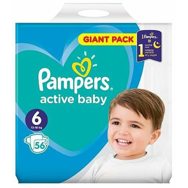 Scutece PAMPERS Active Baby Giant Pack nr 6, Unisex, 13 - 18 kg, 56 buc