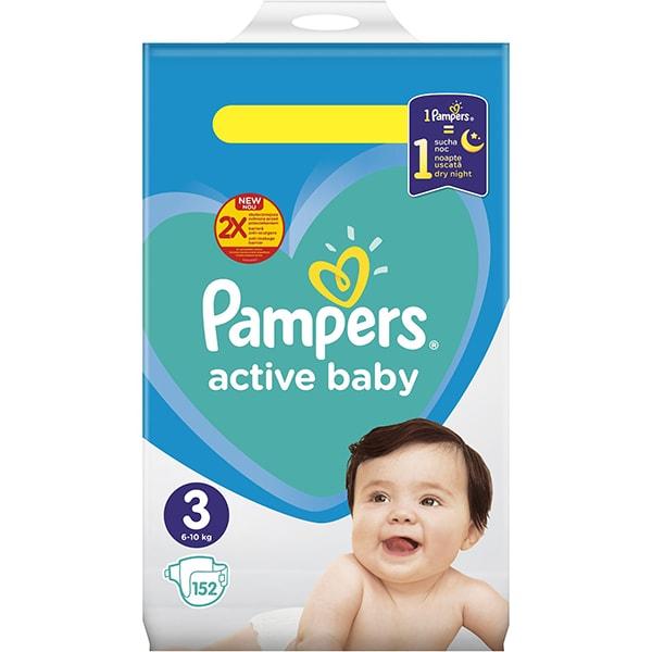 Scutece PAMPERS Active Baby Mega Pack nr 3, Unisex, 6 - 10 kg, 152 buc