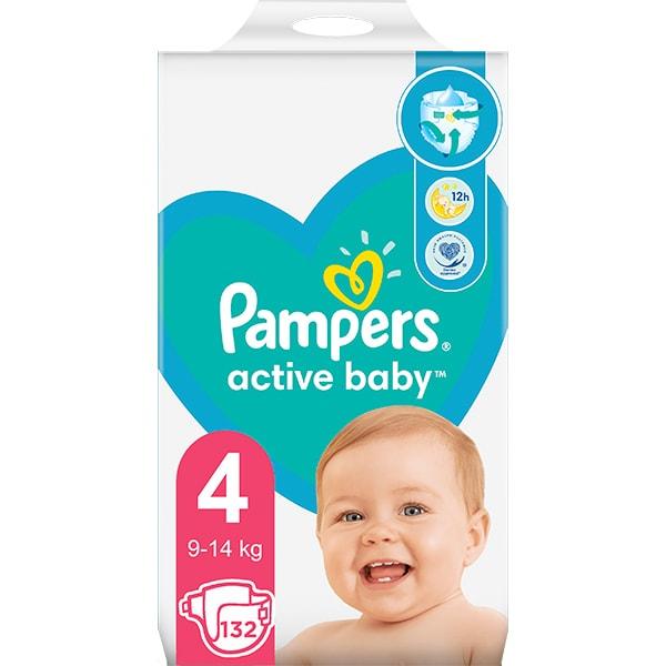 Scutece PAMPERS Active Baby Mega Pack nr 4, Unisex, 9-14 kg, 132 buc
