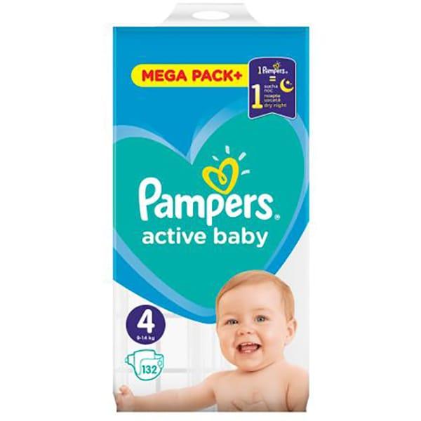 Scutece PAMPERS Active Baby Mega Pack nr 4, Unisex, 9 - 14 kg, 132 buc
