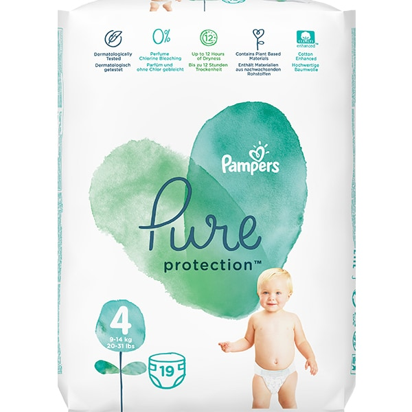 Scutece PAMPERS Pure Protection nr 4, Unisex, 9-14 kg, 19 buc
