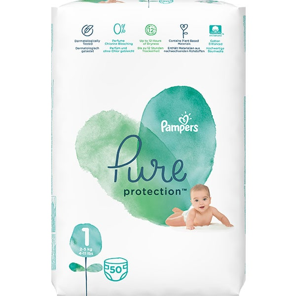 Scutece PAMPERS Pure Protection nr 1, Unisex, 2-5 kg, 50 buc