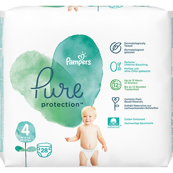 Scutece PAMPERS Pure Protection nr 4, Unisex, 9-14 kg, 28 buc