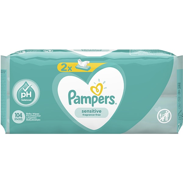 Servetele umede PAMPERS Sensitive, 2 pachete, 104buc