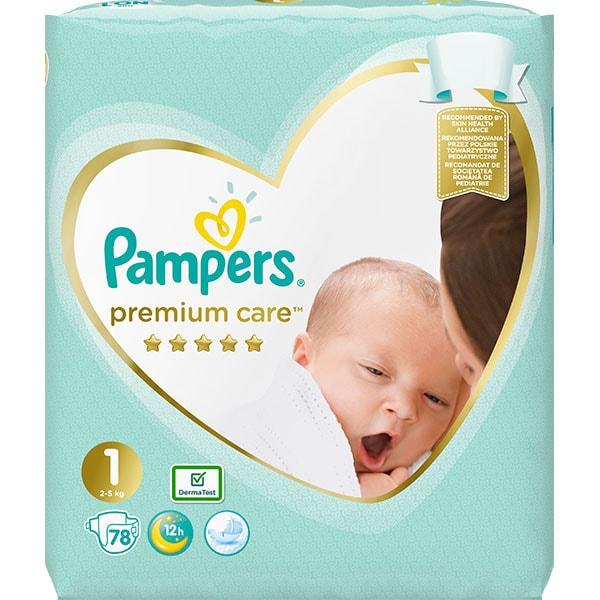 Scutece PAMPERS Premium Care Nou Nascut nr 1, Unisex, 2-5 kg, 78 buc