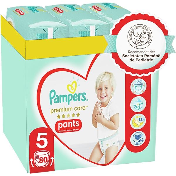 Scutece chilotei PAMPERS Premium Care Pants XXL Box nr 5, Unisex, 12-17 kg, 80 buc