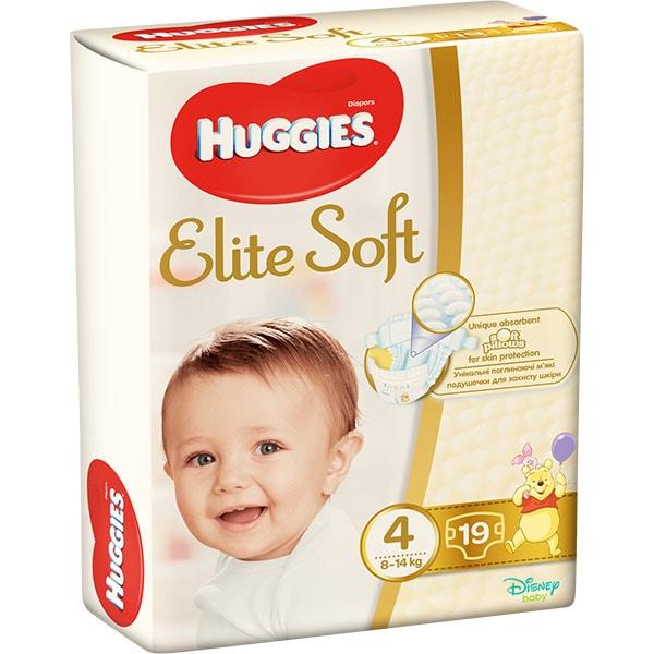 Scutece HUGGIES Elite Soft nr 4, Unisex, 8 - 14 kg, 19 buc