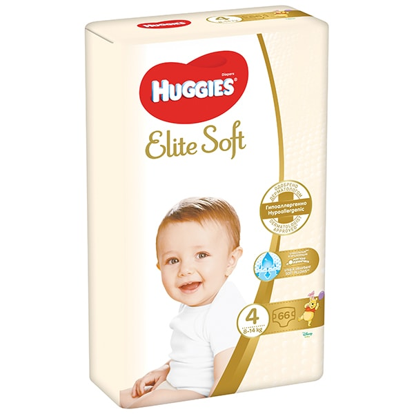 Scutece HUGGIES Elite Soft nr 4, Unisex, 8-14 kg, 66 buc