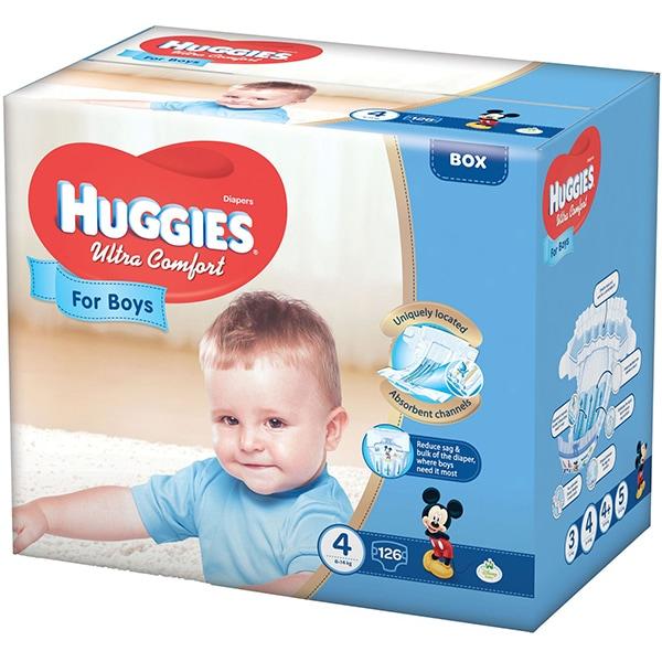 Scutece HUGGIES Ultra Comfort nr 4, Baiat, 8 - 14 kg, 126 buc
