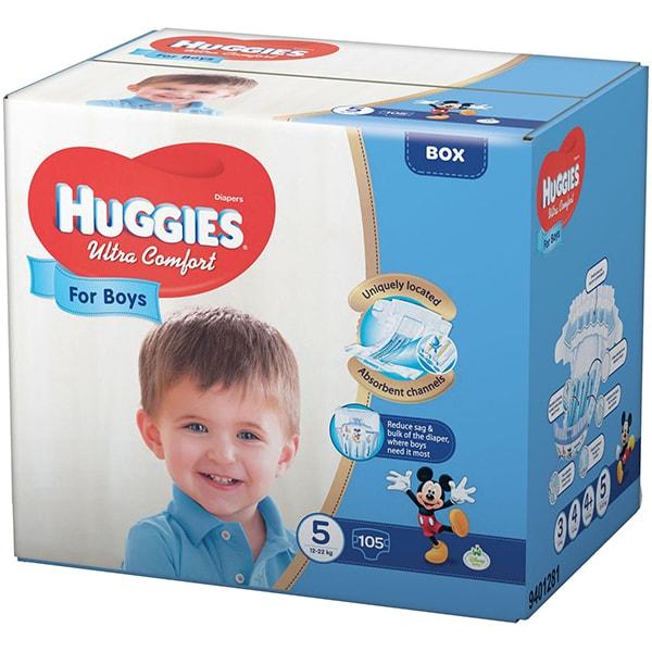 Scutece HUGGIES Ultra Confort nr 5, Baiat, 12 - 22 kg, 105 buc