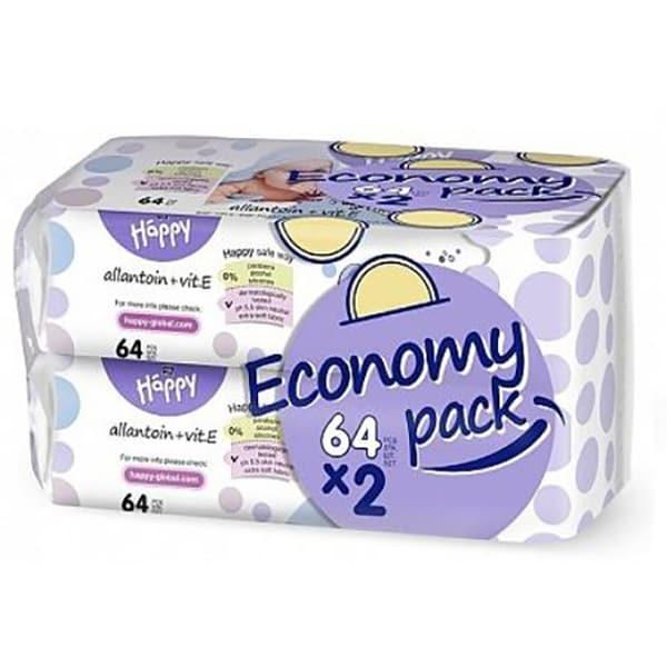 Servetele umede HAPPY cu Alantoina si Vitamina E, 2 pachete, 128 buc