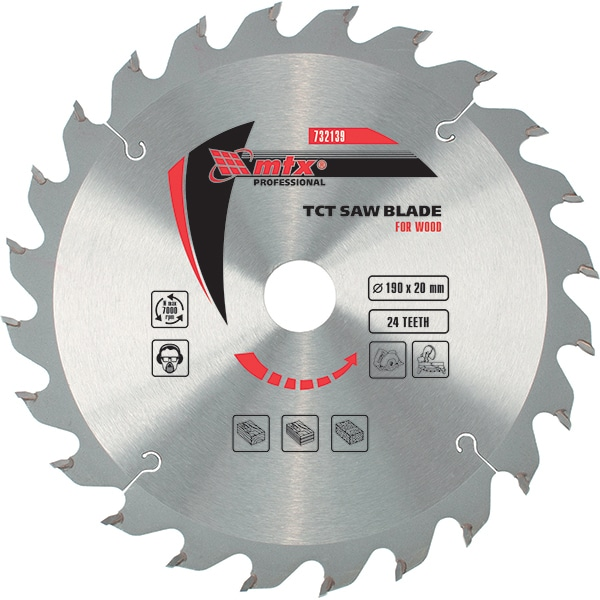 Disc debitare lemn MTX, 190 x 20 mm, 24 dinti, bucsa 16/20